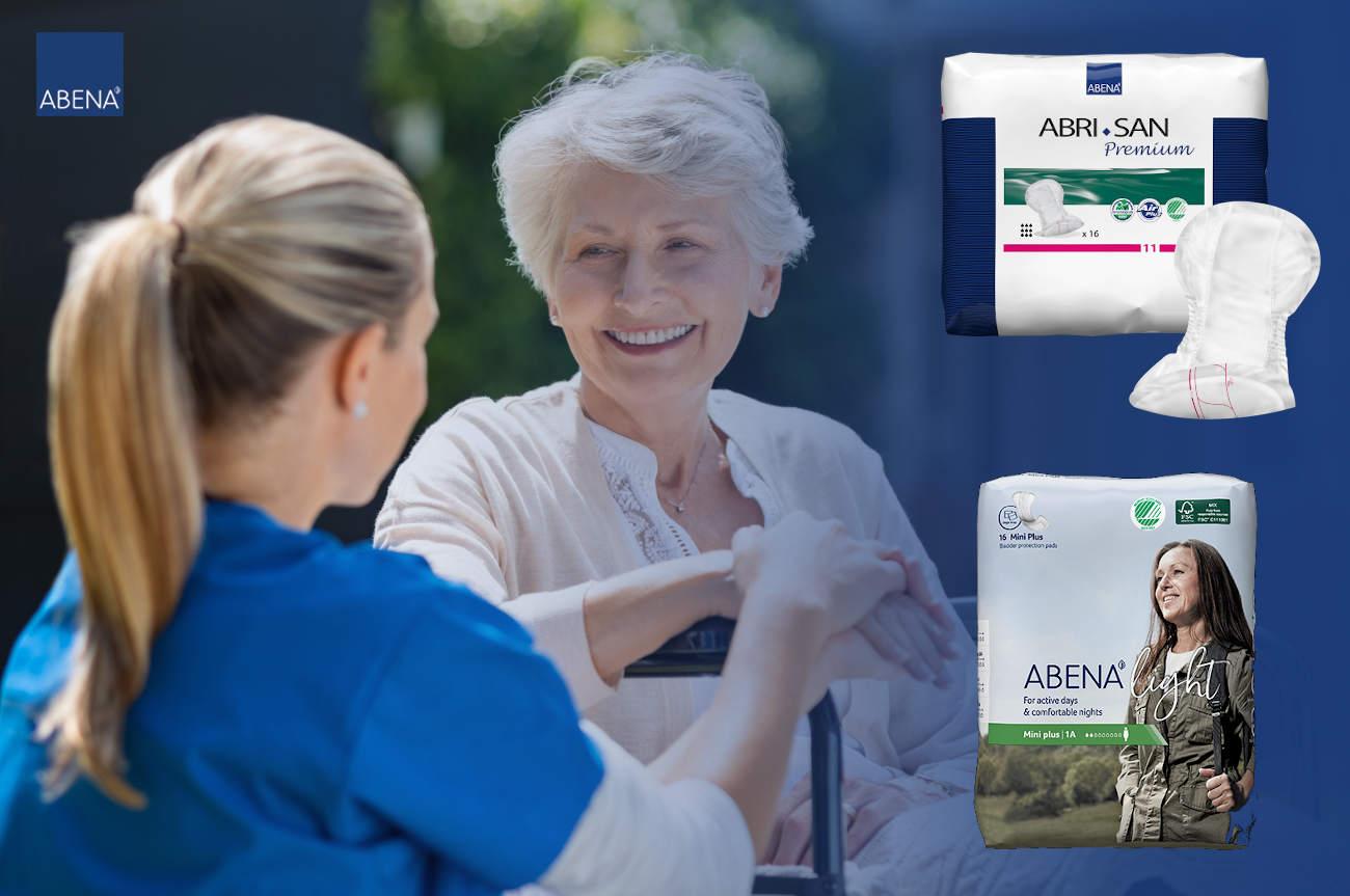 Abri San Einlagen: Pflegerin führt Bewohnerin aus