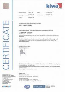ISO Zertifikat 13485