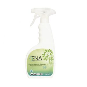 Bild der Sprühflasche des Ena Geruchsentferners.
