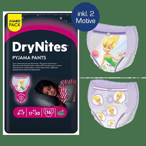 Abbildung Huggies DryNites für Mädchen 4-7 Jahre mit Tinkerbell